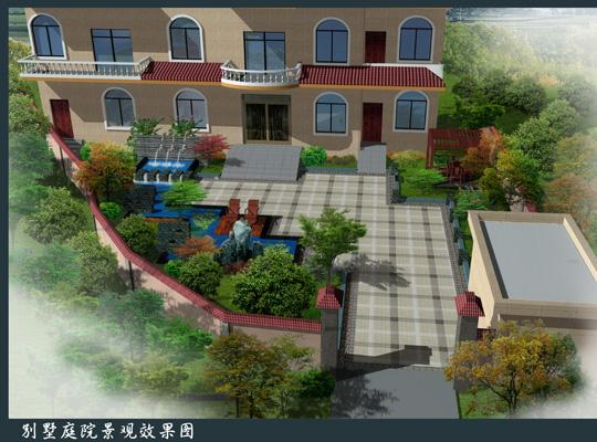 庐山手绘效果图 庭院